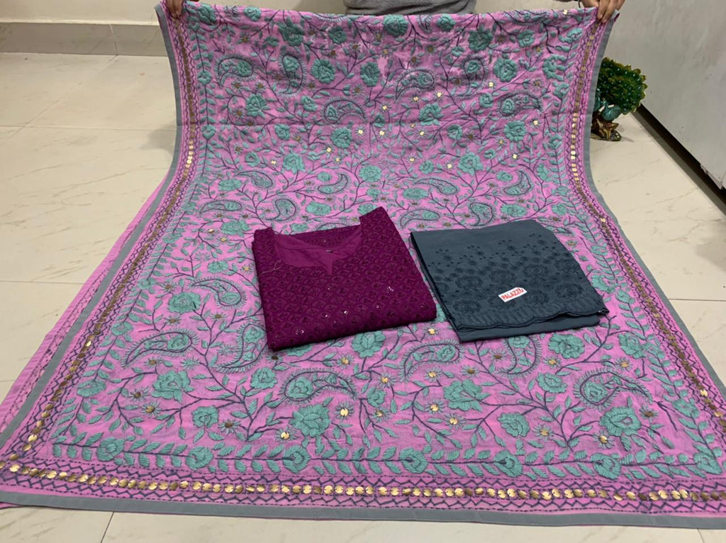 Beautiful Kashmiri Heavy Threadwork Raw Silk Dupatta With Magenta Cotton Kurti & Grey  Plazo