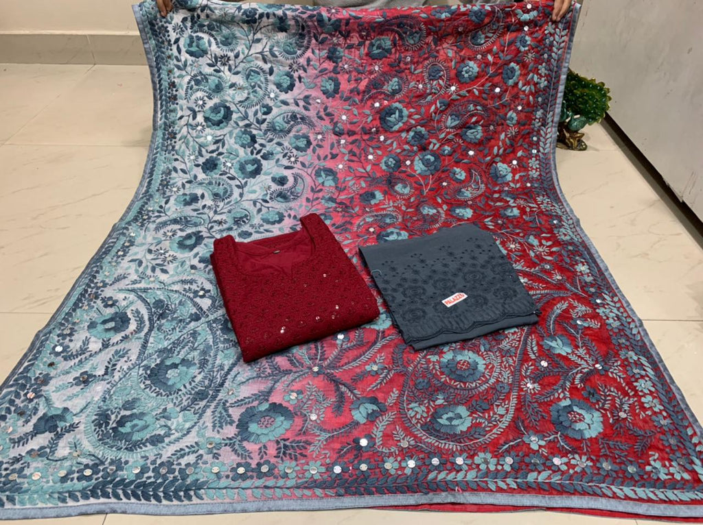 Beautiful Kashmiri Heavy Threadwork Raw Silk Dupatta With Maroon Cotton Kurti & Grey  Plazo