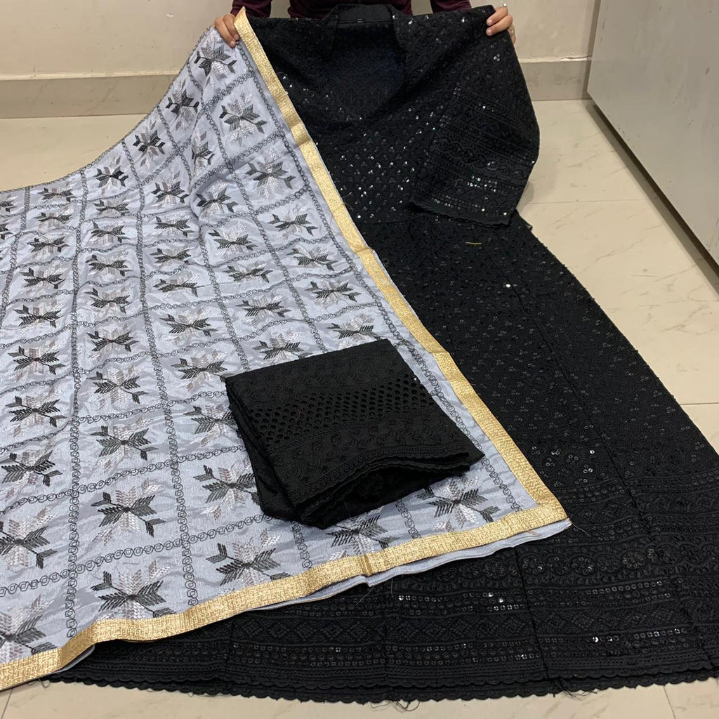 Beautiful   Handwork Dupatta With Black  Chikankari Anarkali & Plazoo