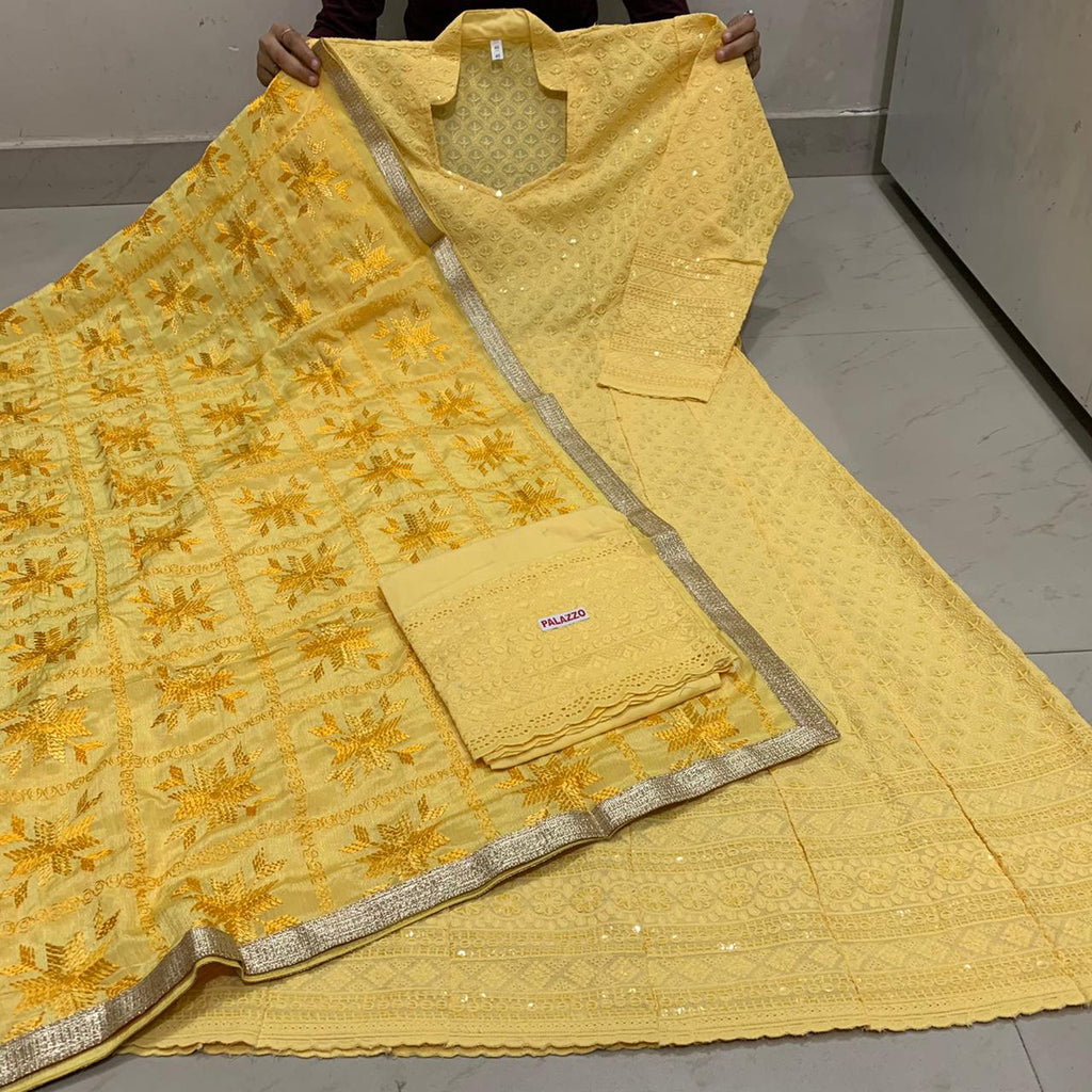 Beautiful  Handwork Dupatta With Light Yellow  Chikankari Anarkali & Plazoo