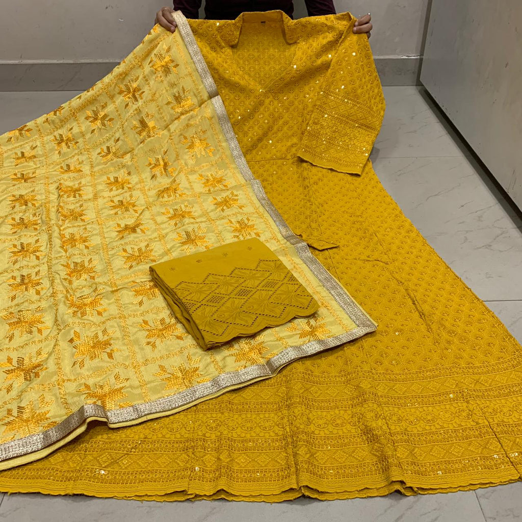 Beautiful  Handwork Dupatta With Mustard Yellow   Chikankari Anarkali & Plazoo