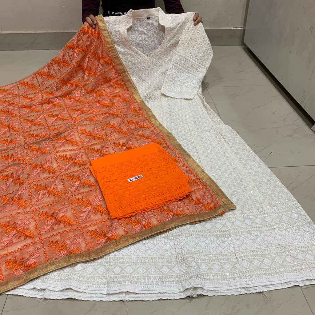 Beautiful  Handwork Dupatta With White  Chikankari Anarkali & Orange  Plazoo