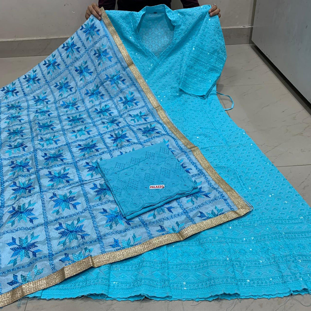 Beautiful  Handwork Dupatta With Bright Light Blue  Chikankari Anarkali &   Plazoo