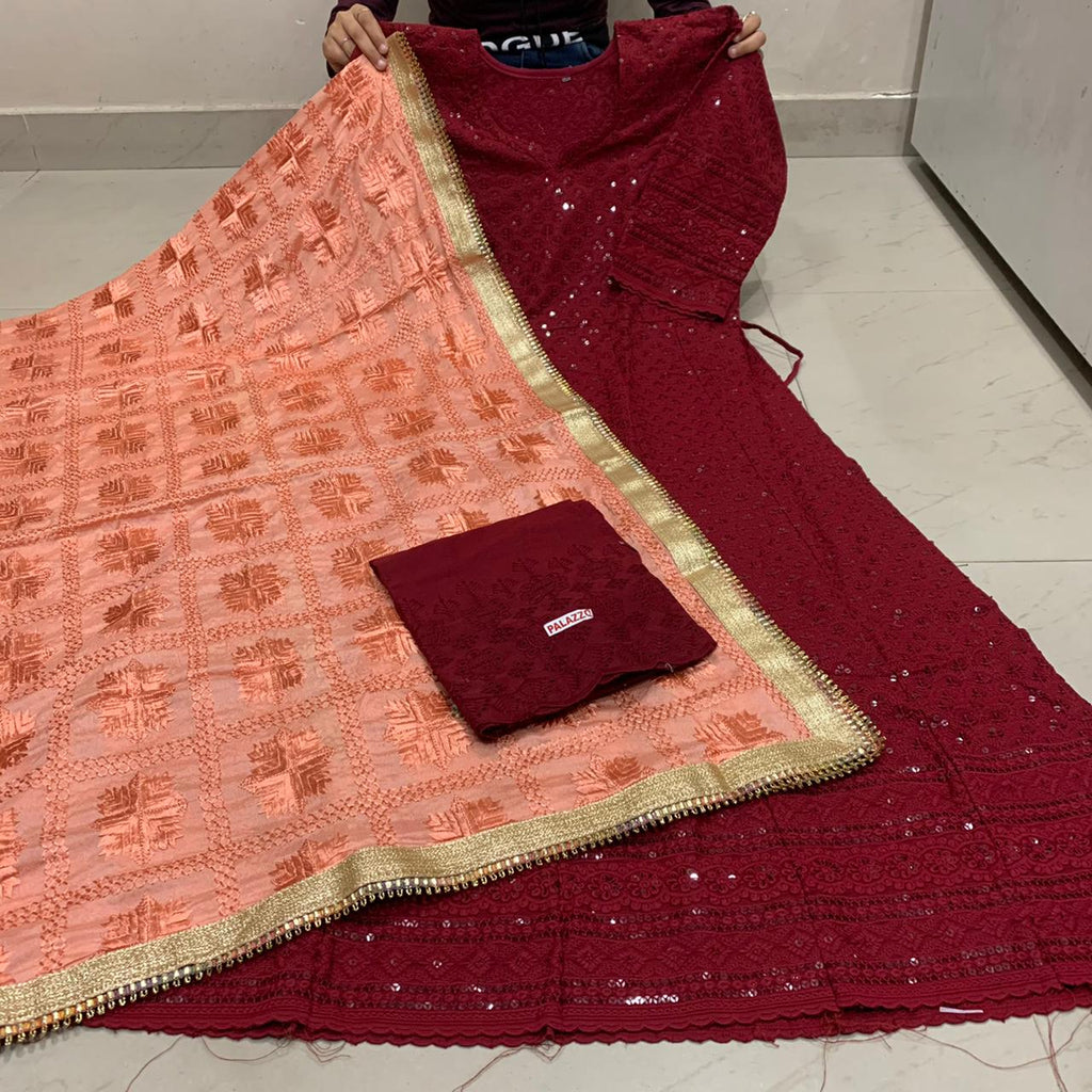 Beautiful  Handwork Dupatta With Maroon   Chikankari Anarkali &   Plazoo