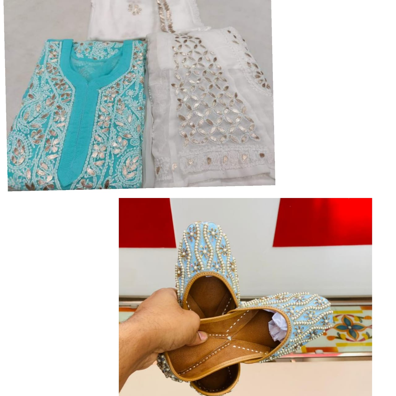 Buy 6 sets of blue  Georgette Lucknowi Chikankari Kurti Sharara with embrodery jutti