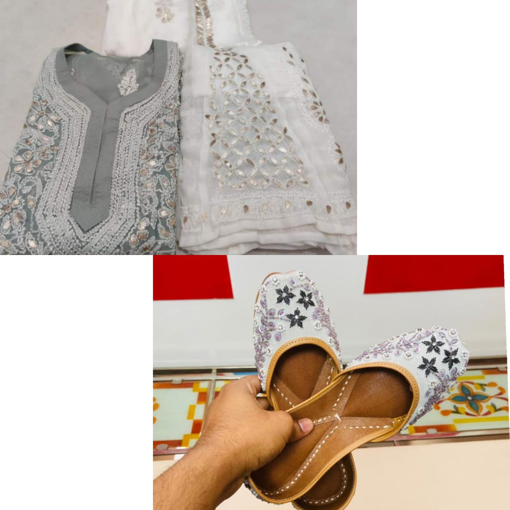 Buy 6 sets of grey Georgette Lucknowi Chikankari Kurti Sharara with embrodery jutti