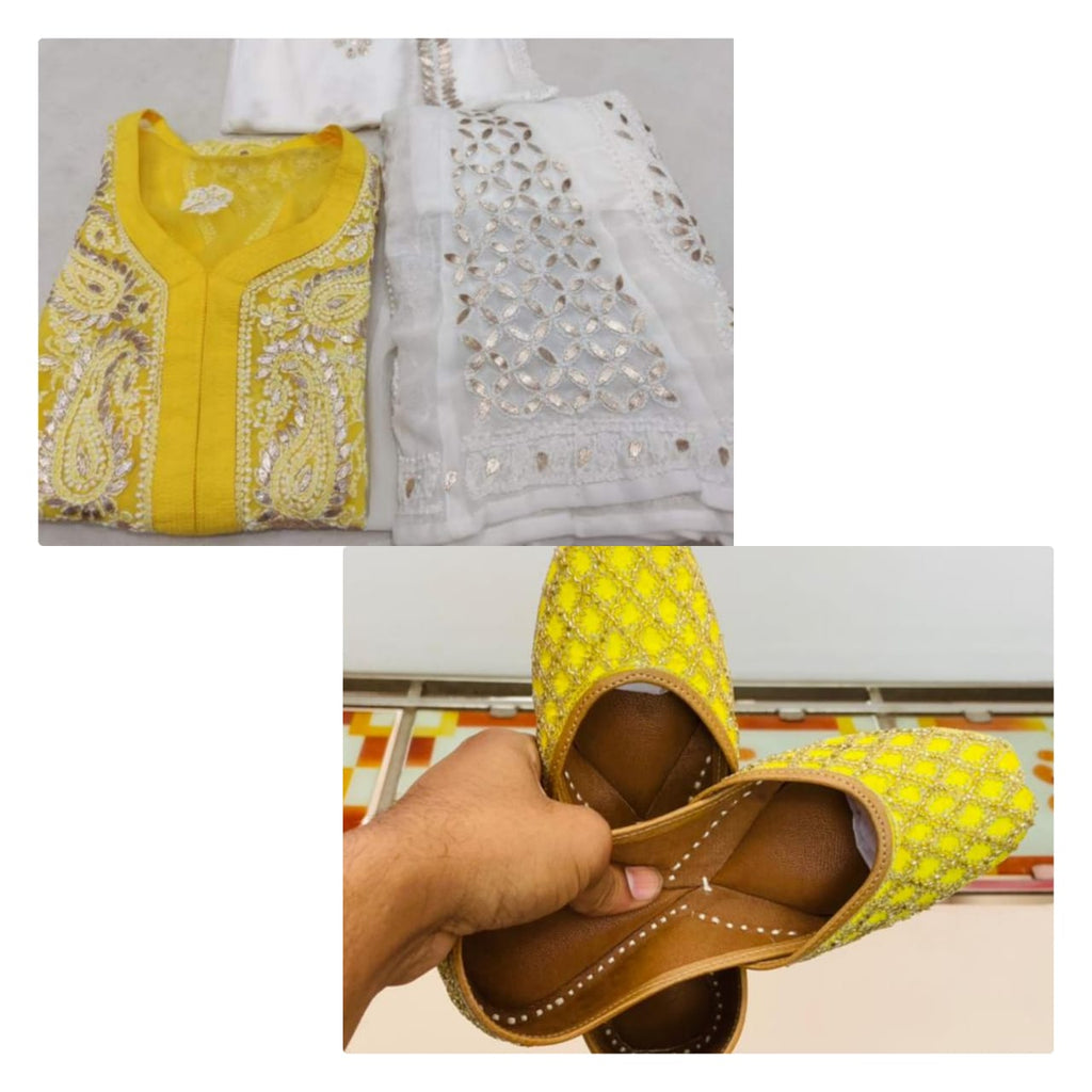Buy 6 sets of Yellow  Georgette Lucknowi Chikankari Kurti Sharara with embrodery jutti