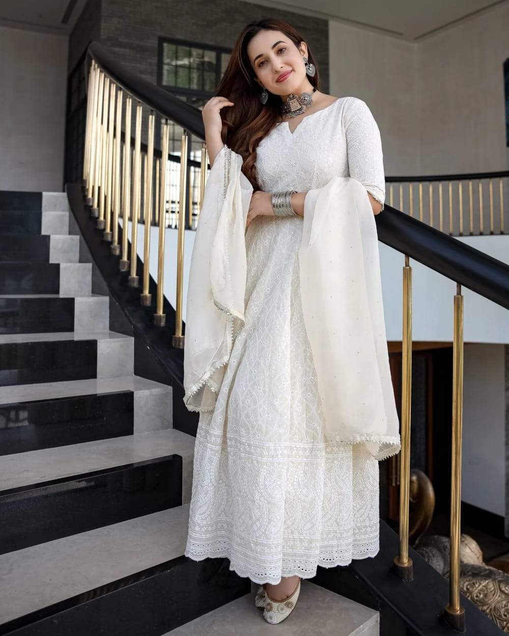 Elegant  Off -White Chikan Kari Gown with Dupatta