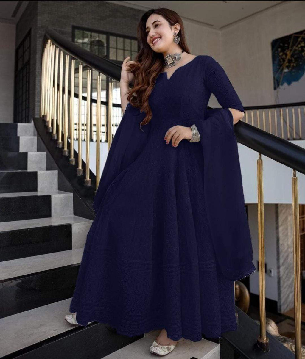 Elegant  Royal Blue ChikanKari Gown with Dupatta
