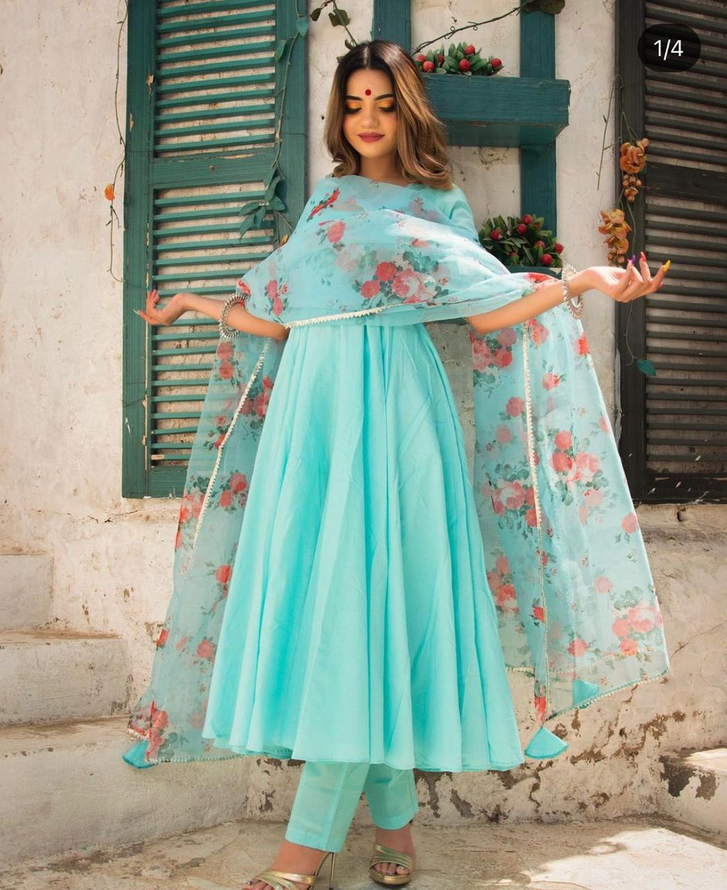 Beautiful Frock Style Rayon Kurta  With Flair Detailed  and Dupatta