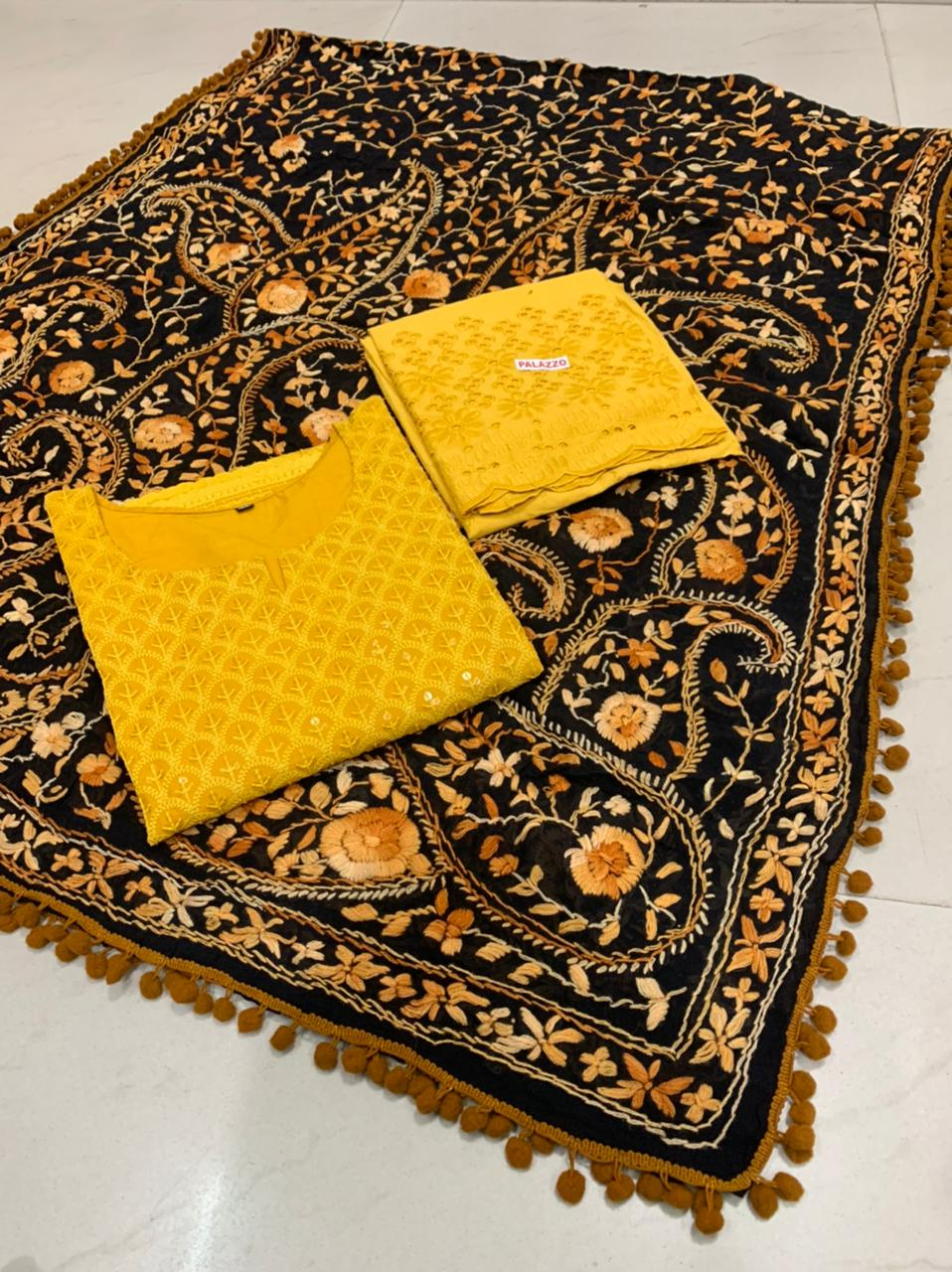 Beautiful Kashmiri  Raw silk  Dupatta with Yellow Chikan work Kurti