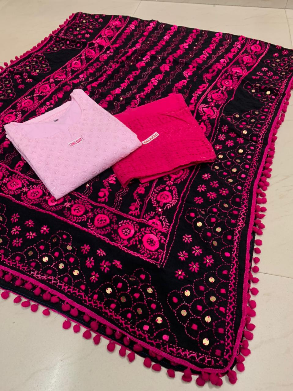 Beautiful Kashmiri  Raw silk  Dupatta with Light Pink  Chikan work Kurti