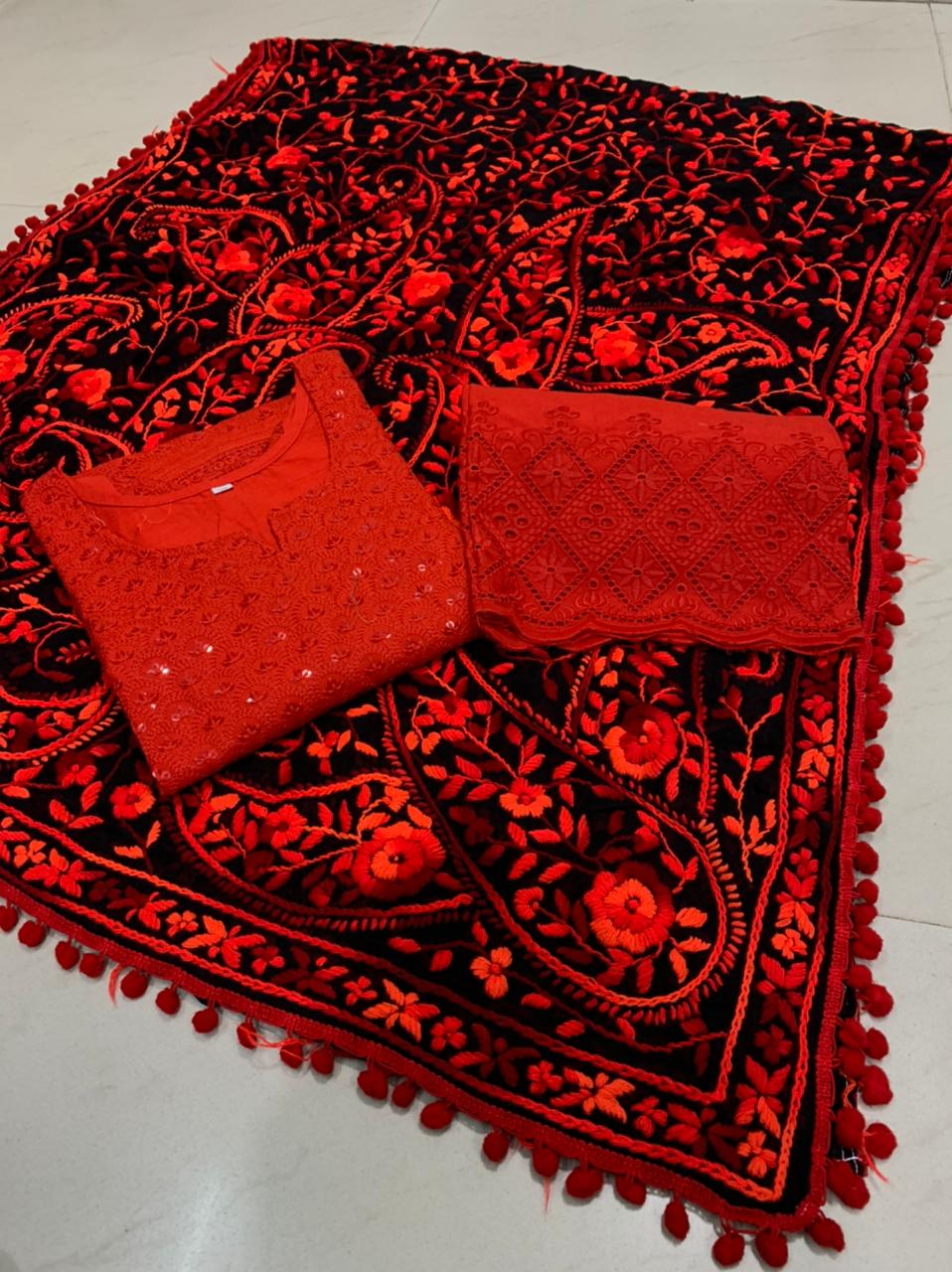 Beautiful Kashmiri  Raw silk  Dupatta with Red Chikan work Kurti