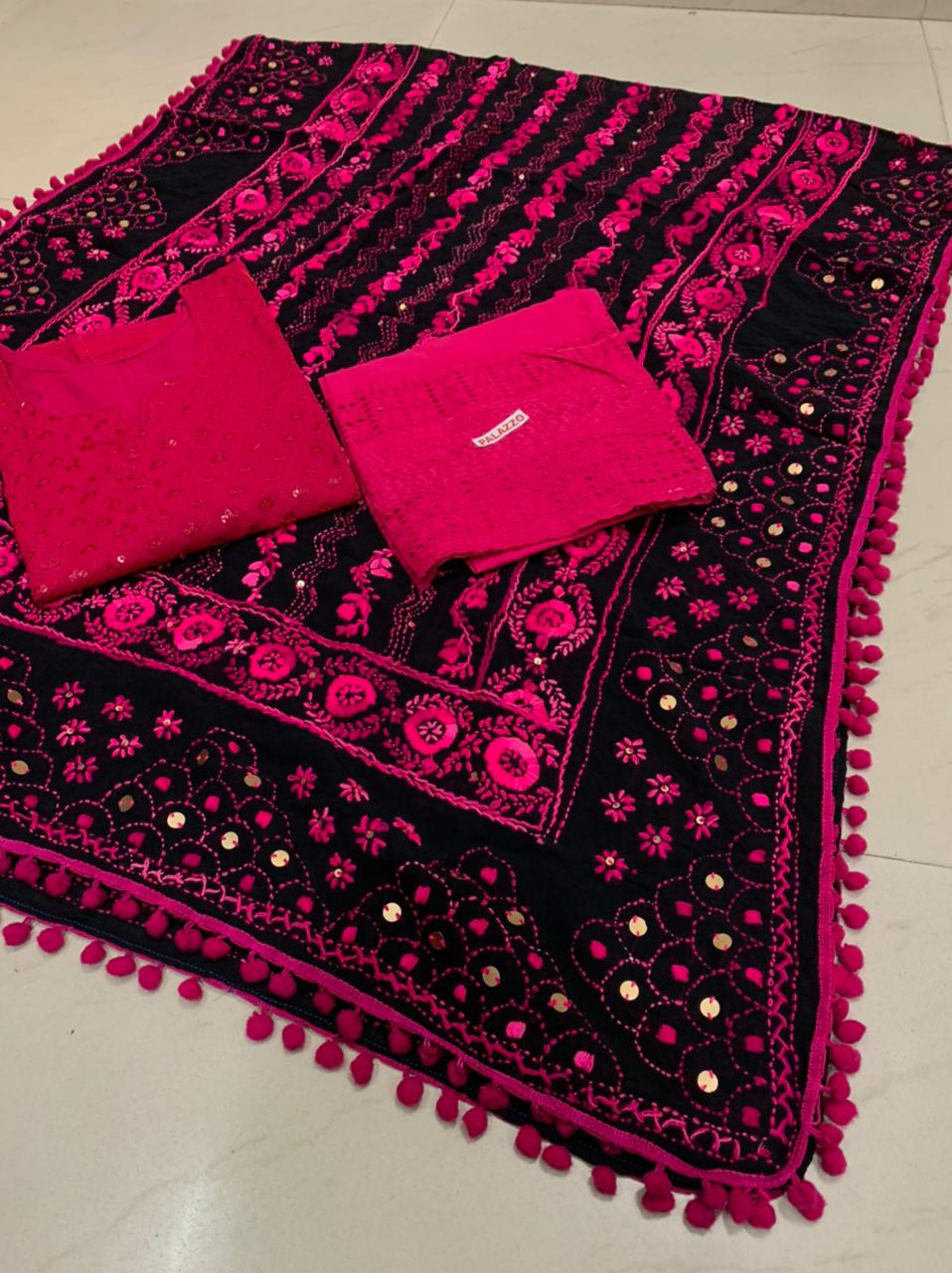 Beautiful Kashmiri  Raw silk  Dupatta with Pink  Chikan work Kurti