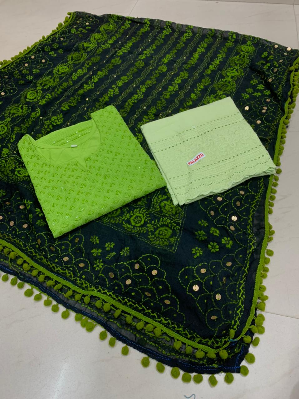 Beautiful Kashmiri  Raw silk  Dupatta with Green  Chikan work Kurti