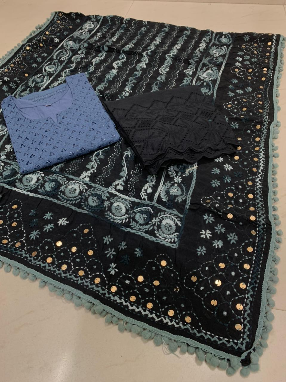 Beautiful Kashmiri  Raw silk  Dupatta with Grey Chikan work Kurti