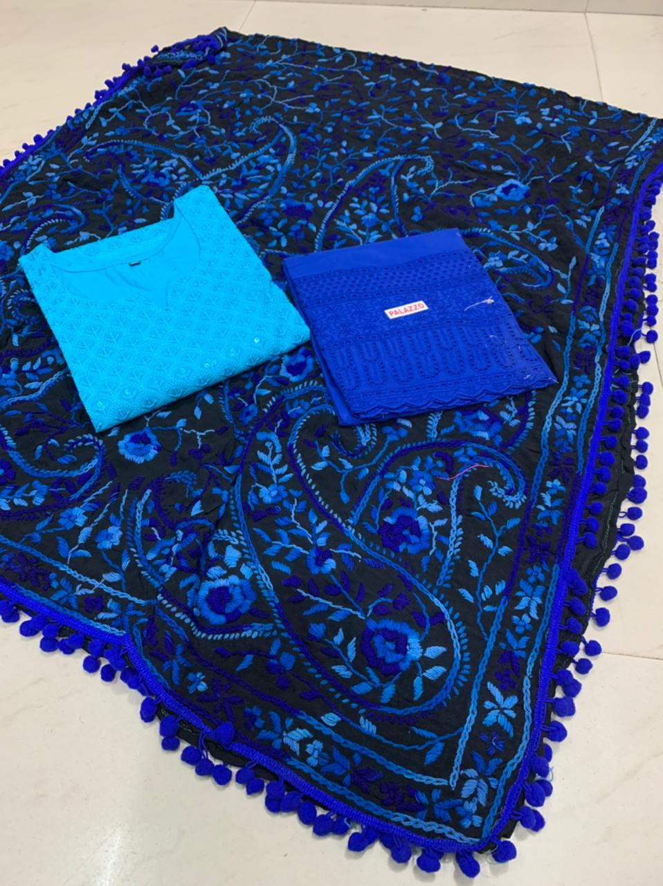 Beautiful Kashmiri  Raw silk  Dupatta with Sky Blue  Chikan work Kurti