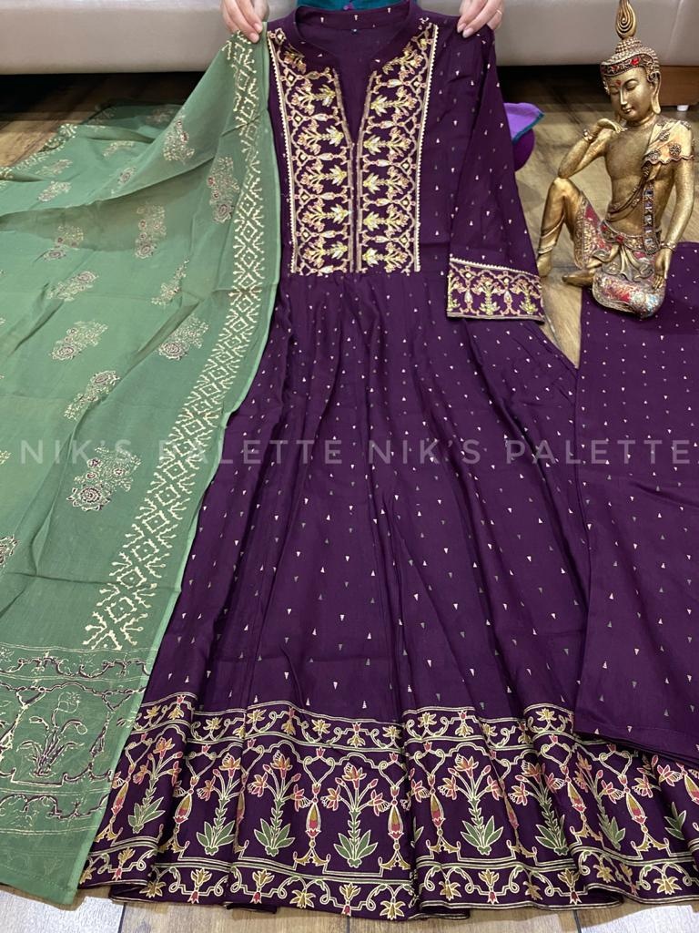 Beautiful Rayon Heavy Block & foil Print Flared Gown with Dupatta