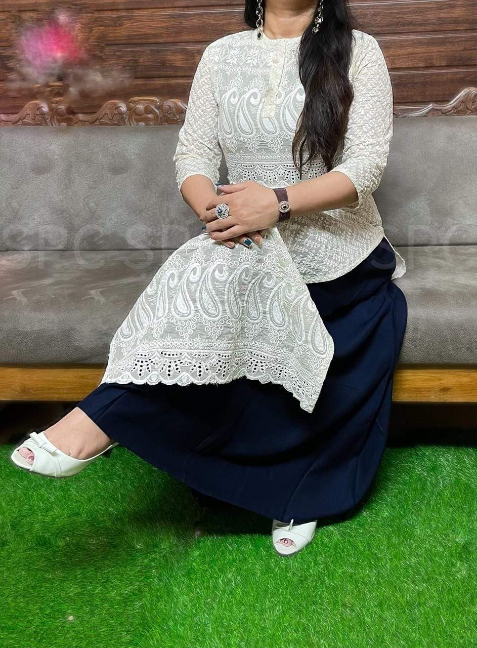 Beautiful White Cotton Chikan Kurti