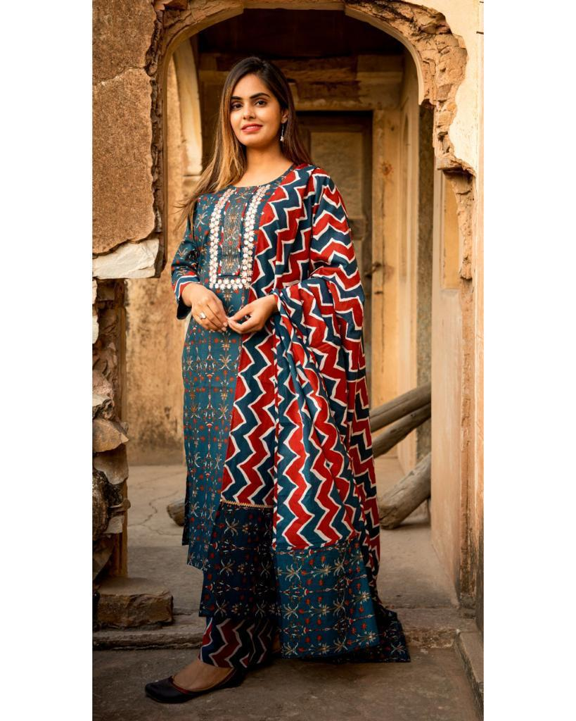 Elegant Cobalt Blue Printed Kurta With Zig-Zag Printed Duppatta and Pant