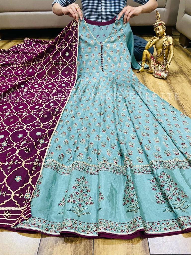 Beautiful Premium Sky Blue Silk Anarkali Gown with Dupatta
