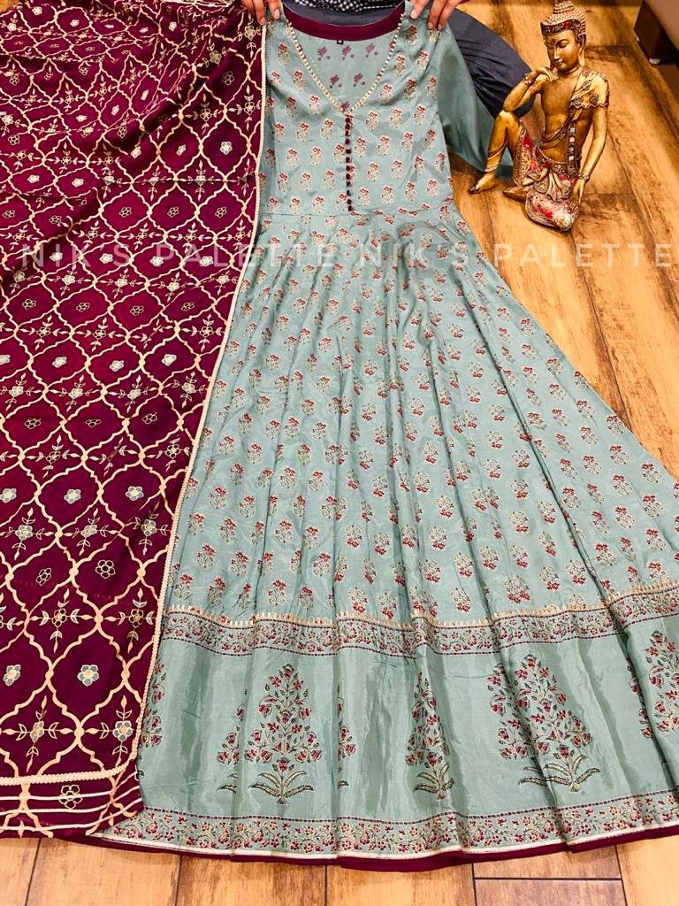 Beautiful Premium Light Grey Silk Anarkali Gown with Dupatta