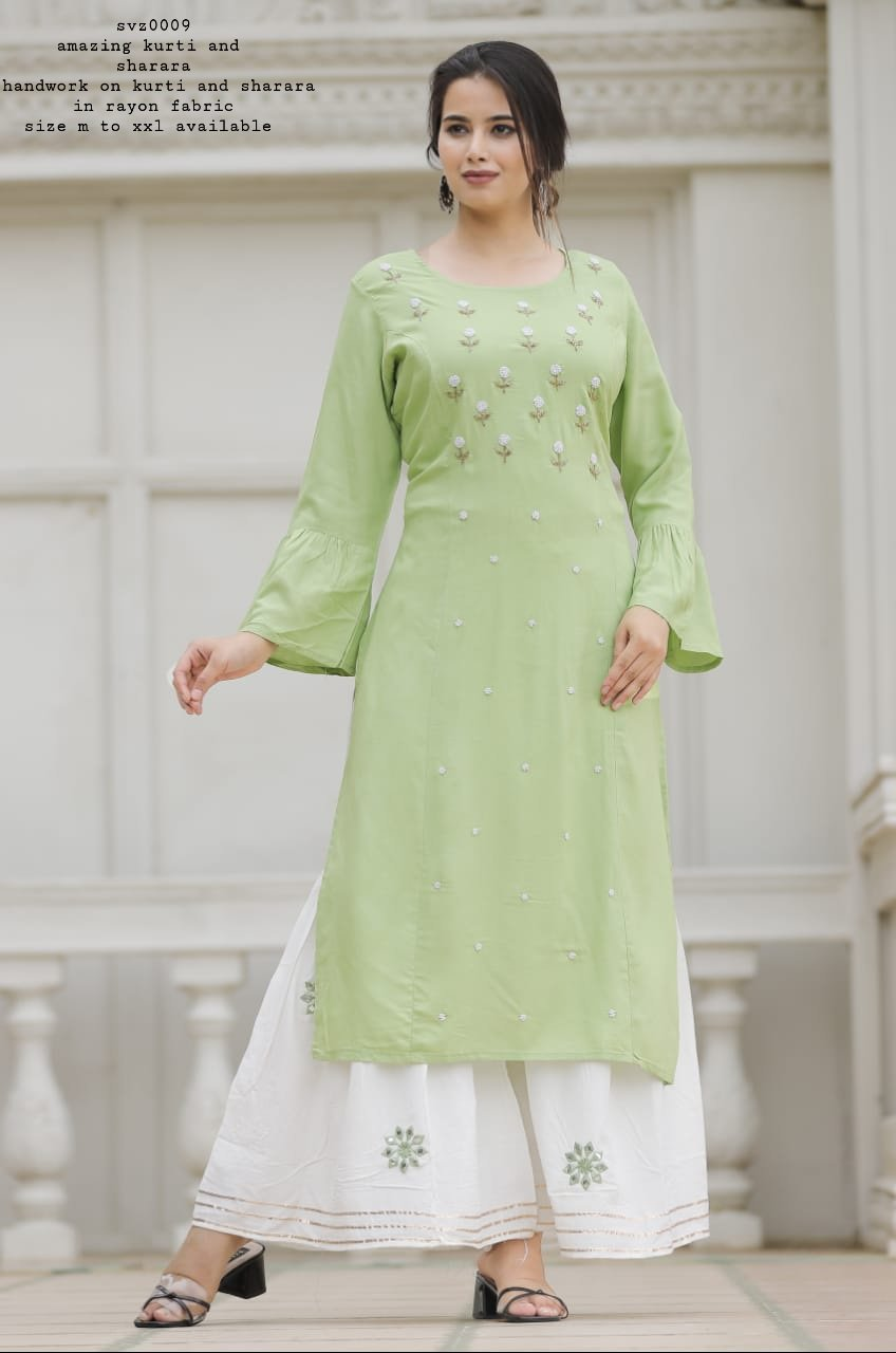 Beautiful Pista Green Rayon Kurti With Embroidery Sharara