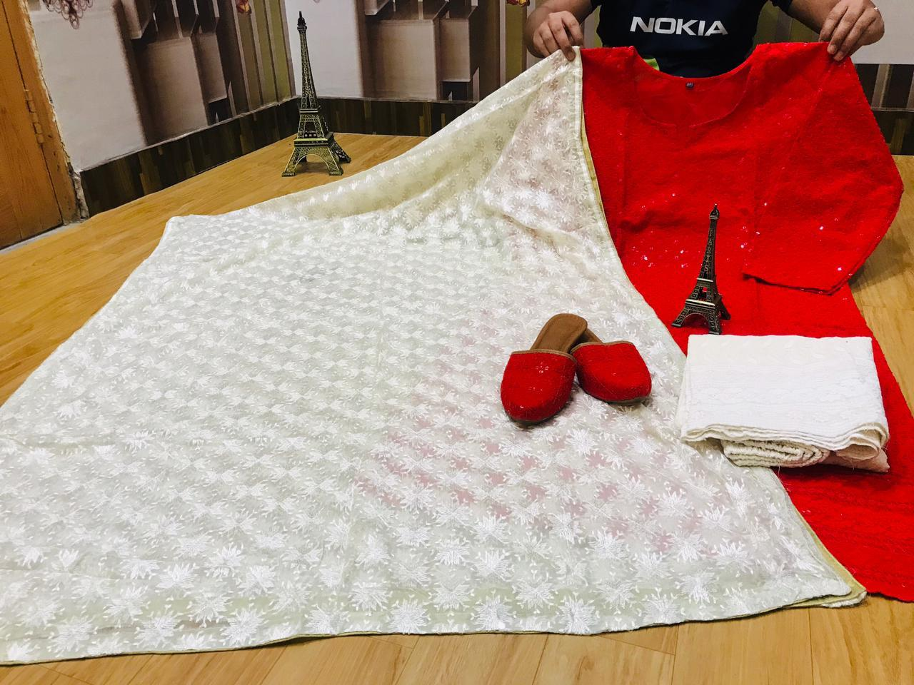 Beautiful White Embroidery Chiffon Dupatta & Chikankari Sequins Work Red Kurti and Chikan Plazzo with Chikan Sequins Work Jutti Set