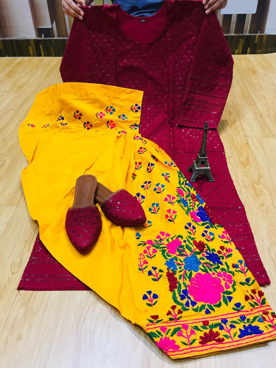 Beautiful Handwork Patiala Salwar and Chikankari Sequins Work  Maroon Kurti With Same Combination Chikankari Sequins Patiala Jutti