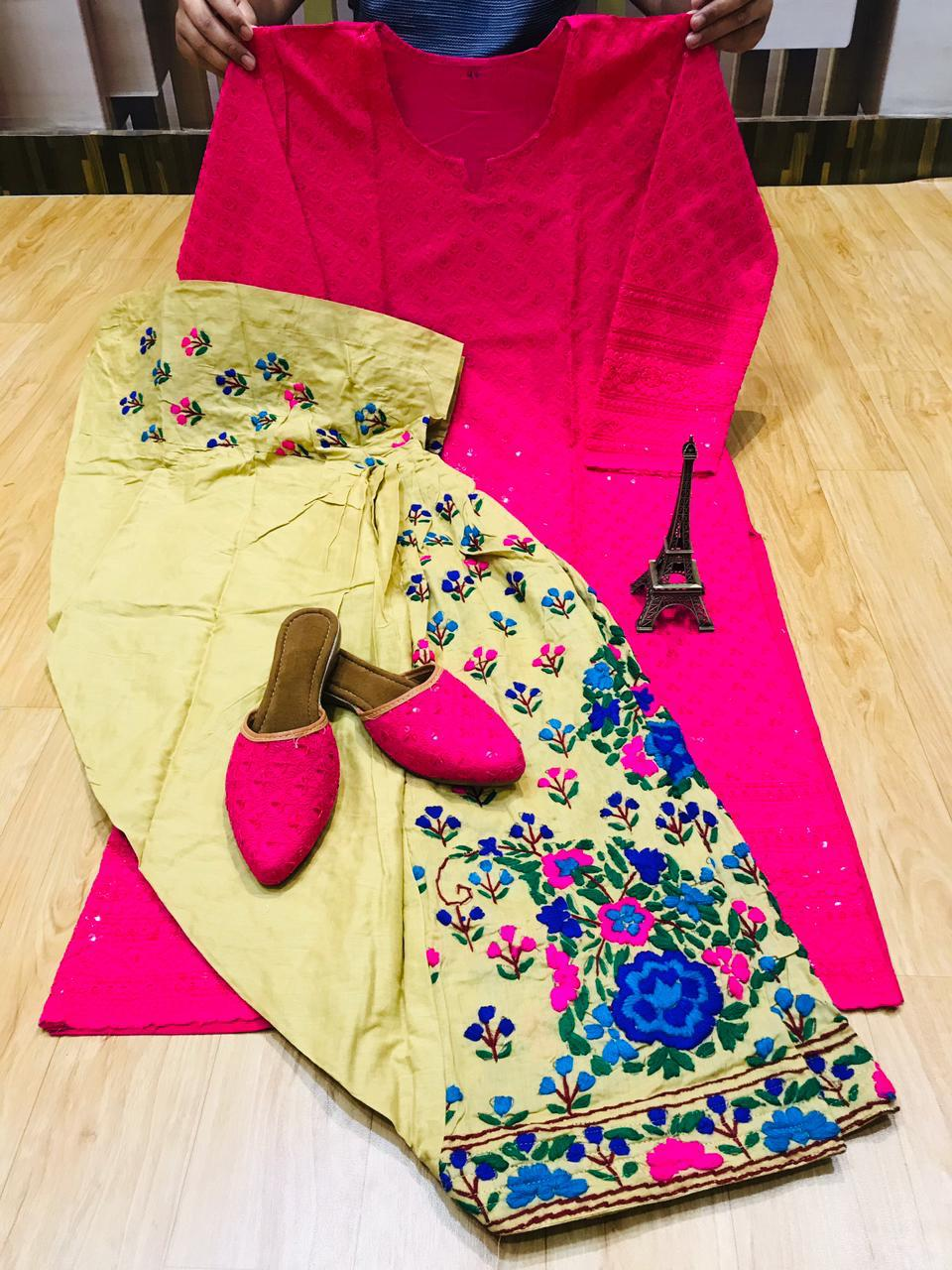 Beautiful Handwork Patiala Salwar and Chikankari Sequins Work Pink Kurti With Same Combination Chikankari Sequins Patiala Jutti