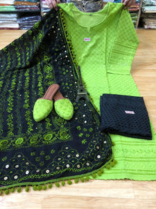Black and Green Kurti Pallazo and Jutti Combo Exclusive pom Pom phulkari Pure georgette handwork embroidery dupatta