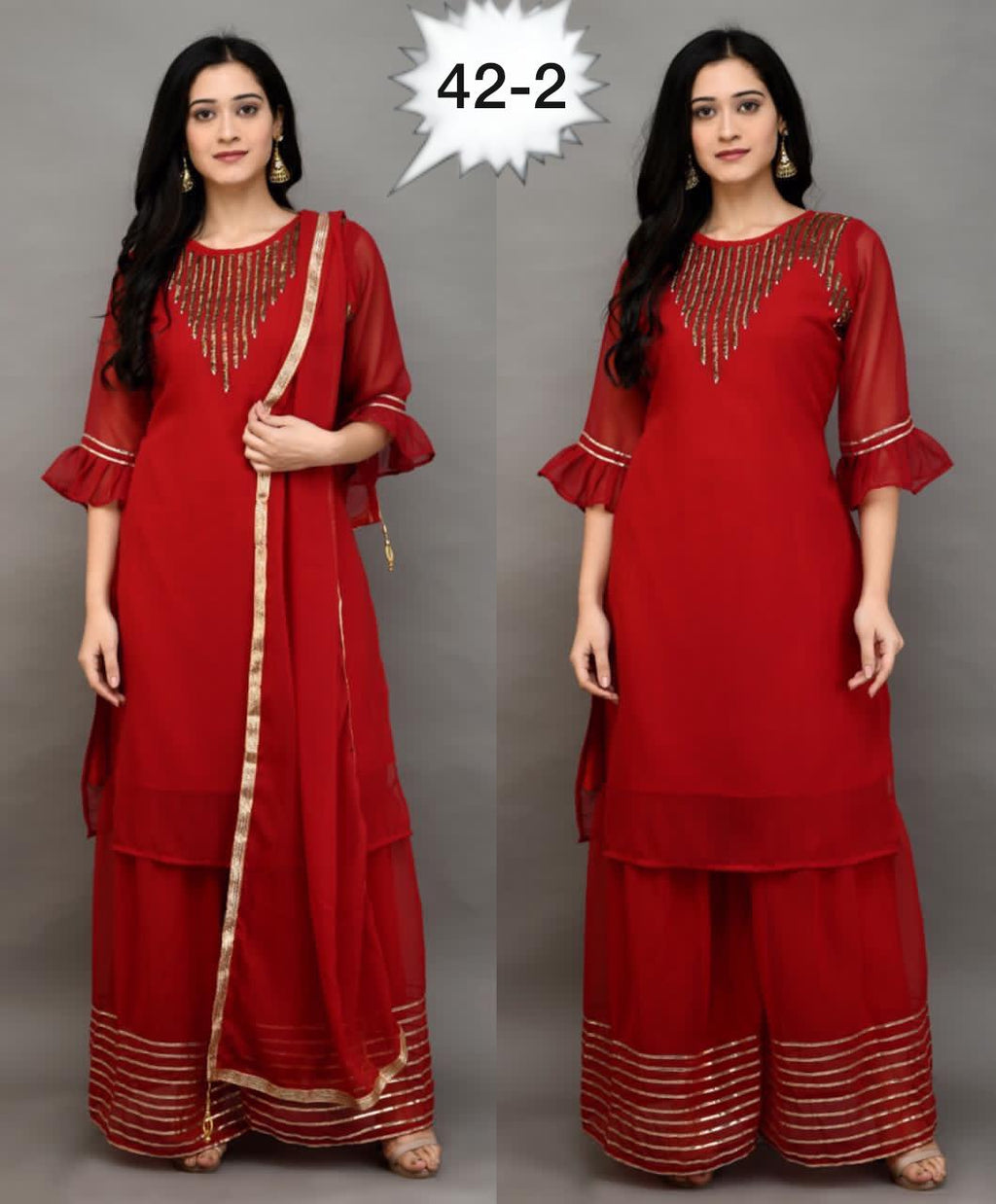 Buy Any Two  Elegant  Embroidery Georgette Kurti Sharara & Dupatta sets