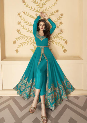 Buy Sky Blue and Wine color  Embroidered Georgette Front Slit Abaya Suit combo suit