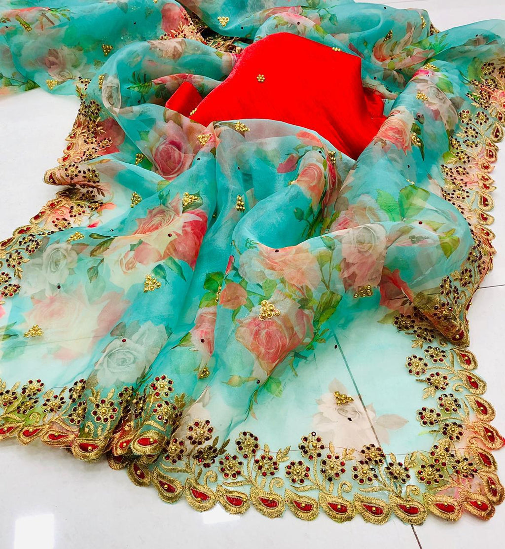 8 SETS Digital Floral Print Organza Saris In Online Shopping