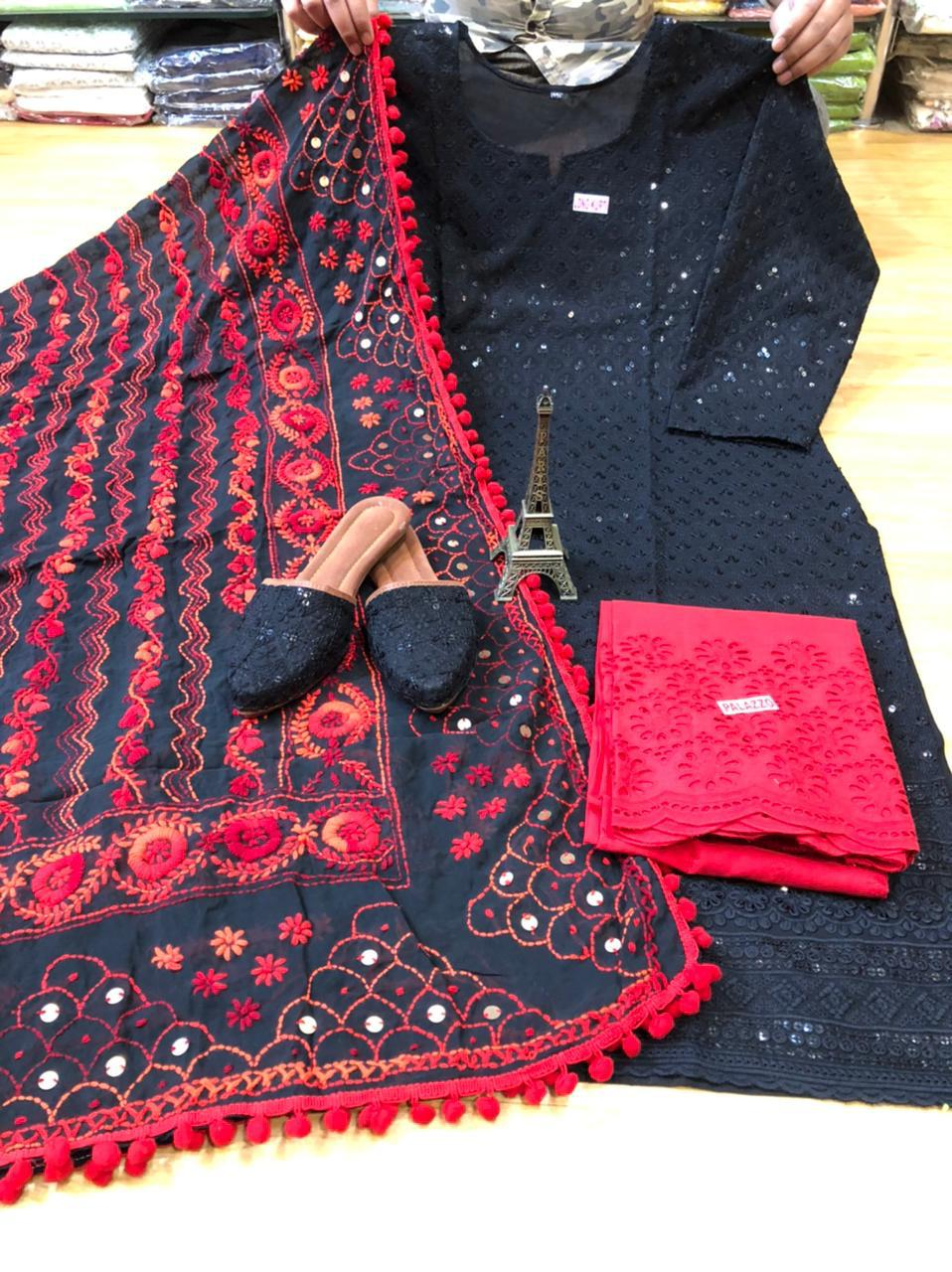 Black and Red Kurti Pallazo and Jutti Combo Exclusive pom Pom phulkari Pure georgette handwork embroidery dupatta