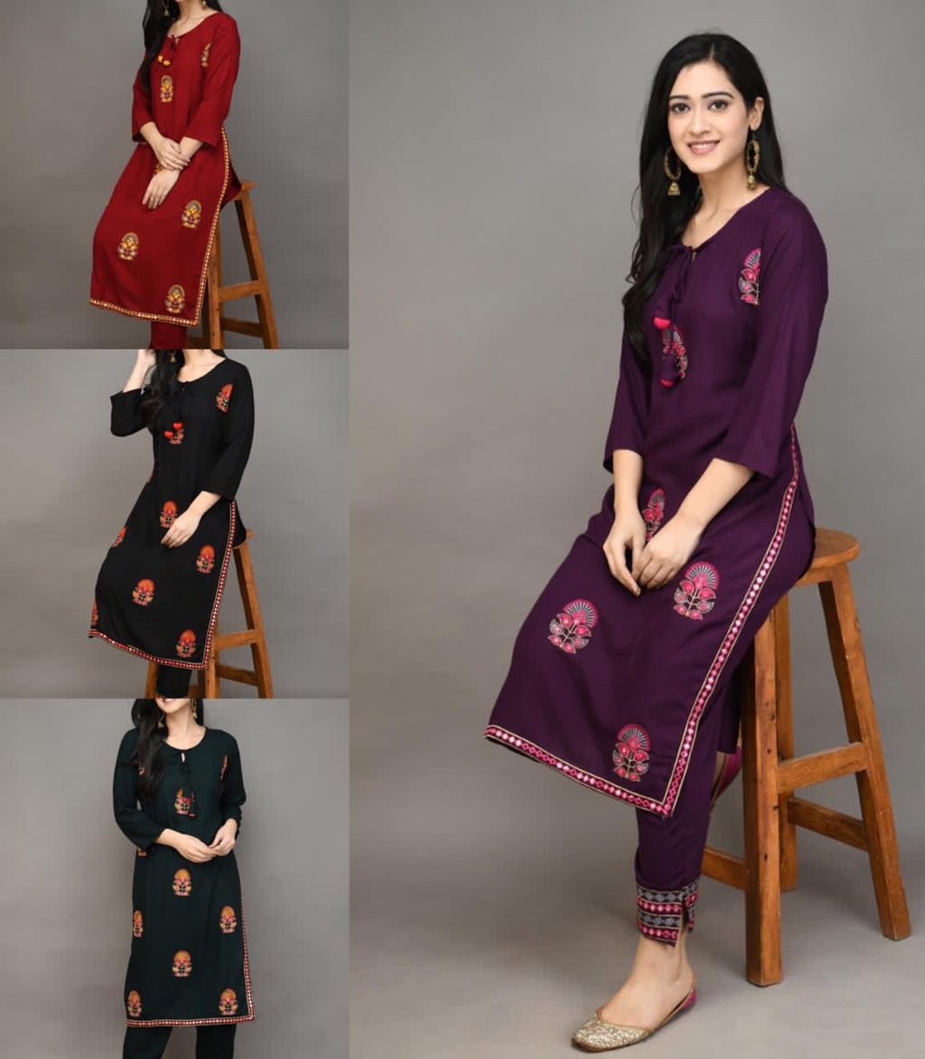 Buy any 2 Combo kurti and Sharara with Embroidery and Tassles