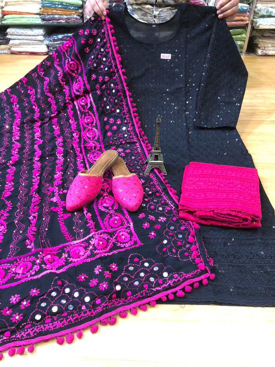Black and Pink Kurti Pallazo and Jutti Combo Exclusive pom Pom phulkari Pure georgette handwork embroidery dupatta
