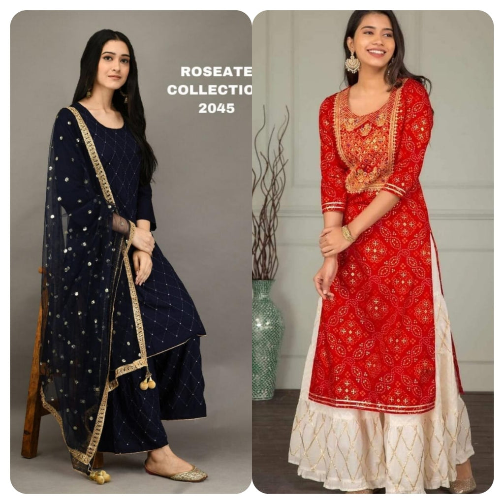 Red and Navy Blue Combo Kurti Sets