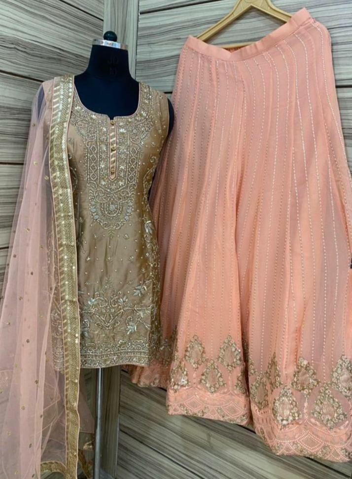 Gold and Peach combo Heavy panel work on neck with zari work embroidery Punjabi Suit Online