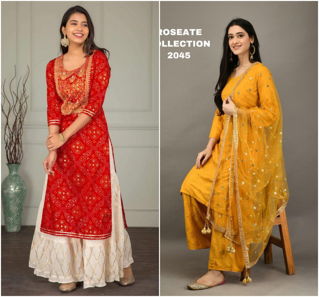 Red and Yellow Combo Kurti Sets
