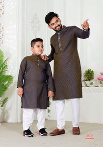 Father-son matching kurta pajama  combo sets (navy blue colour)