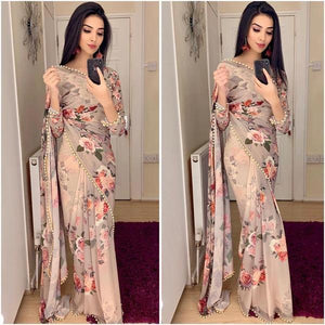 10 Sets Of Georgette Floral Print Saree India Online