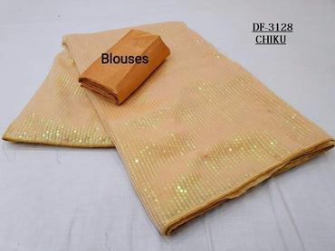 Buy any 10  Sets of  Sequins Saree in Georgette with Plain Silk Blouse