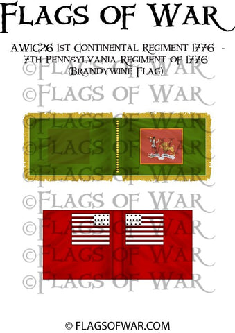 AWIC26 1st Continental Regiment 1776 - 7th Pennsylvania Regiment of 1776 (Brandywine Flag)