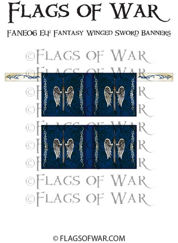 FANE06 Elf Fantasy Winged Sword Banners