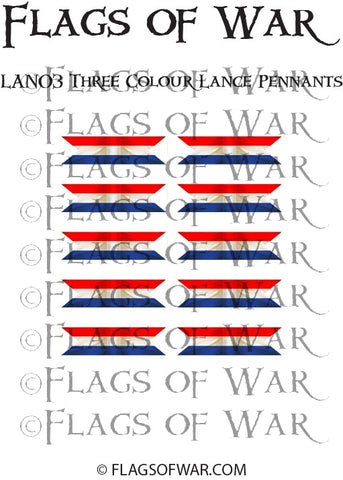 LAN03 Three Colour Lance Pennants