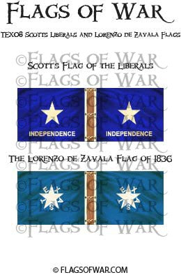 TEX08 Scotts Liberals and Lorenzo de Zavala Flags