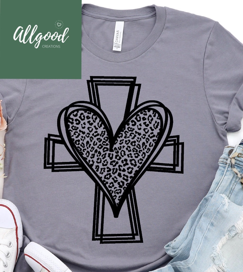 Leopard Heart Cross T-Shirt