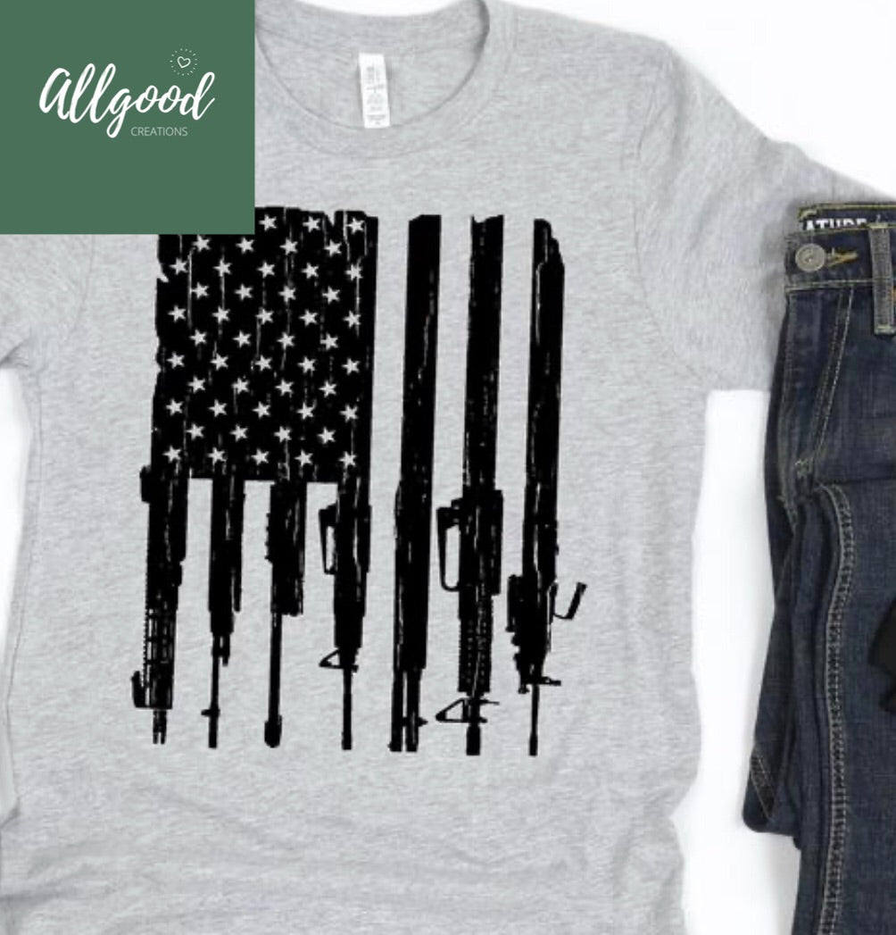 American Flag Guns T-Shirt