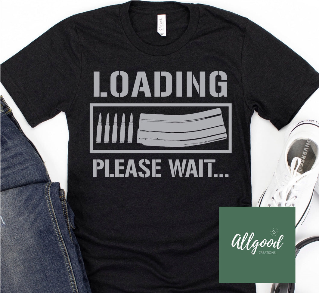 Loading Please Wait T-Shirt Silver Print